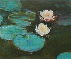 art, monet, and lotus image