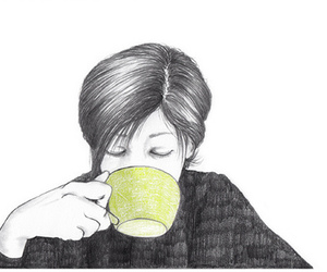 girl, coffee, and drawing image