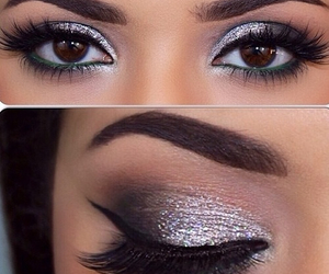makeup, silver, and eyeliner image
