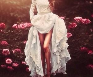 beauty, dress, and flowers image
