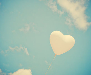 sky, balloons, and heart image