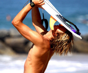 beach, surf, and surfboy image