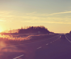 road, car, and sunset image