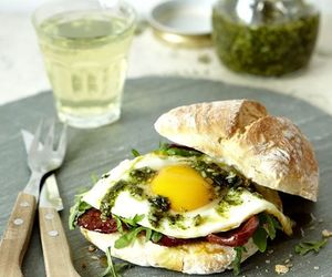 food, sandwich, and egg image