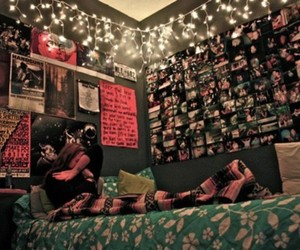 bed sheets, fairy lights, and pictures image