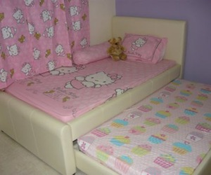 bed, hello kitty, and pink image