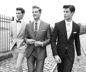 men, suit, and boy image