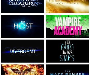divergent, the maze runner, and the fault in our stars image
