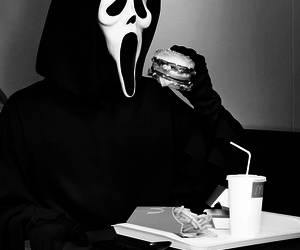 scream, black and white, and food image
