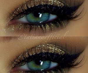 gold, makeup, and eyes image