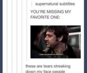 dean winchester, laughing, and subtitles image