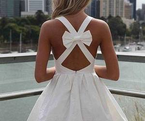 dress, white, and bow image