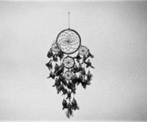 black and white, dreamcatcher, and dream catcher image