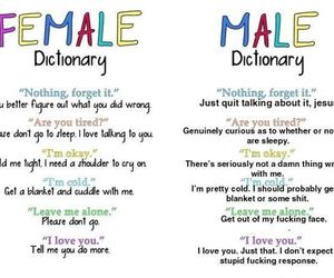 female, male, and dictionary image