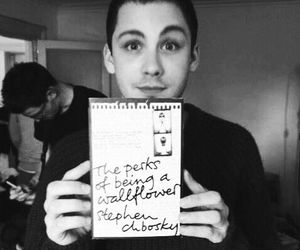 logan lerman, book, and boy image