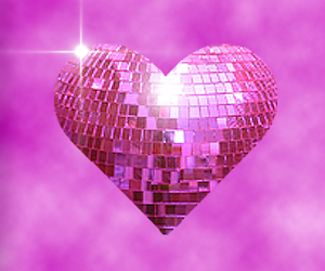 disco, pink, and heart image
