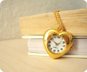 clock necklace, gold, and heart necklace image