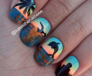 nails, beach, and dolphin image