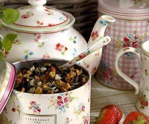 tea, strawberry, and vintage image