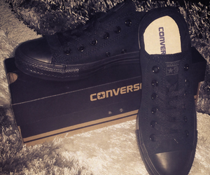 black converse, converse, and shoes image