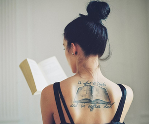 book, girl, and tattoo image
