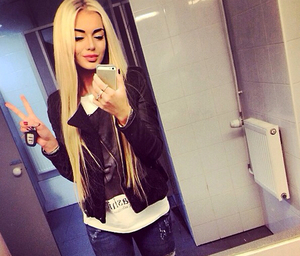 girl, blonde, and mirror image