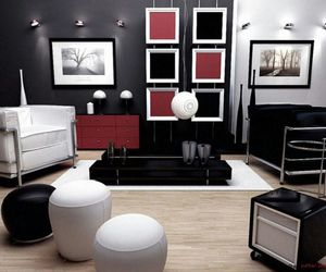 black, living room, and red image