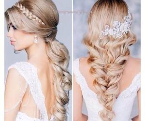 hair, wedding, and bride image