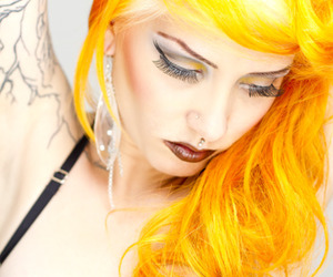 girl, tattoo, and yellow hair image