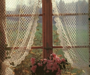 flowers, window, and curtains image