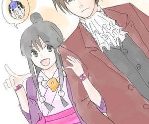 ace attorney, miles edgeworth, and maya fey image