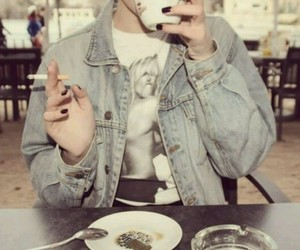 cigarette, coffee, and Pin Up image