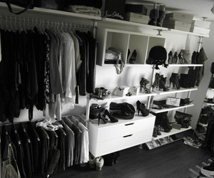 black and white, closet, and place image