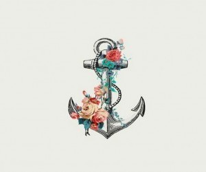 anchor, flowers, and sea image