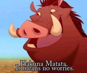 hakuna matata, quote, and pumba image