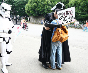 darth vader, free hugs, and storm trooper image