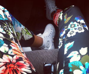 fashion, converse, and flowers image