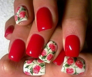 nails, red, and flowers image
