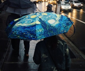art, umbrella, and van gogh image