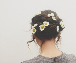flowers, hair, and girl image