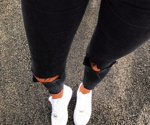 black jeans, ripped, and fashion image