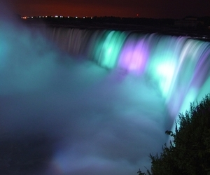 waterfall, beautiful, and night image