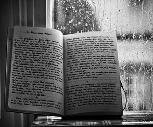 black and white, rain, and book image