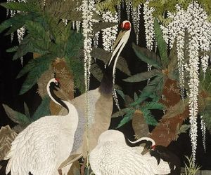 art, cranes, and japanese image
