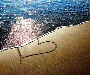 beach, heart, and love image