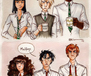 harry potter, draco malfoy, and ron weasley image