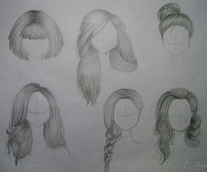 hair, black, and draw image