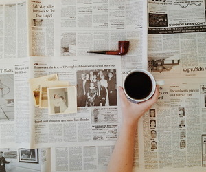 newspaper, coffee, and vintage image