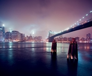 city, light, and bridge image