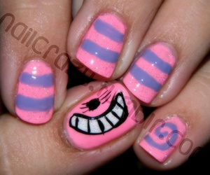 nails, alice in wonderland, and Cheshire cat image
